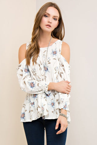 Cold Shoulder Floral Blouse-Ivory