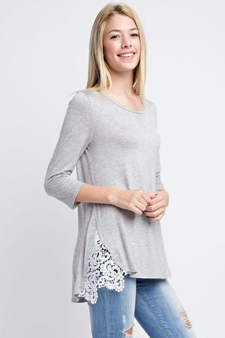 Side Lace Tunic-Heather Grey