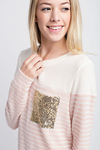 Glitzy Pocket Sweater-Pink