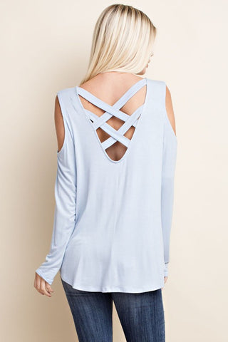 Round Hem Cold Shoulder Top-Powder Blue