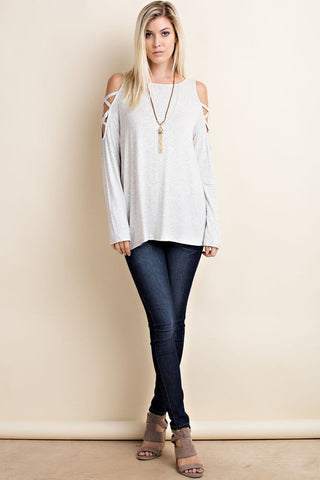 Side To Side Top-Heather Grey