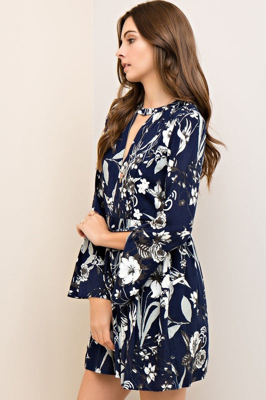 Nightingale Floral Dress-Navy