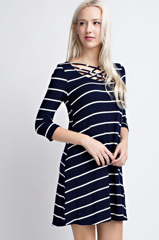 Striped Strappy Dress-Navy