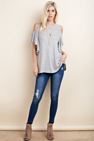Butterfly Sleeve Top-Heather Grey