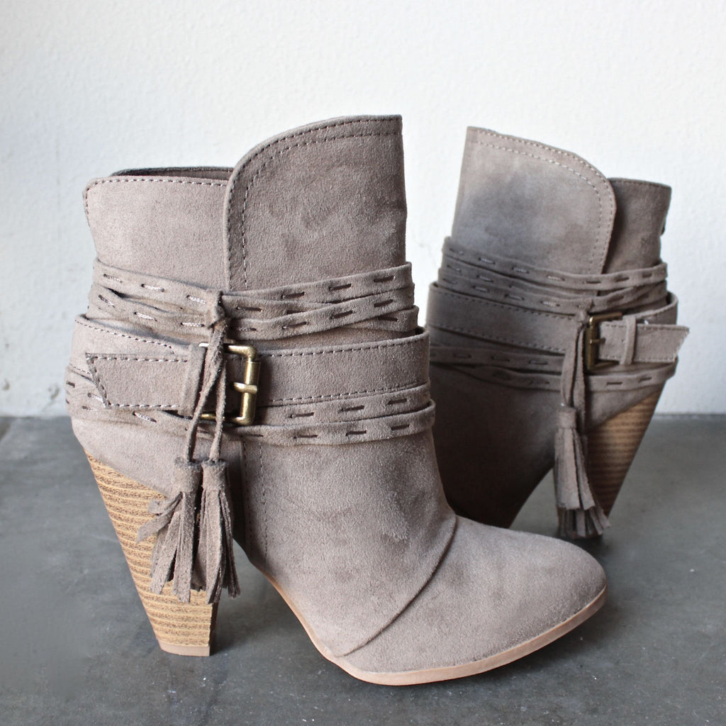 Addy Tassel Suede Booties-Taupe(PREORDER)