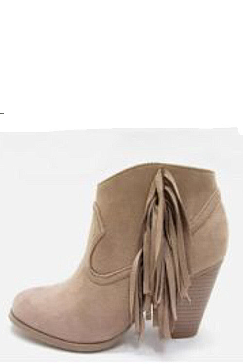 Side Fringe Bootie-Taupe