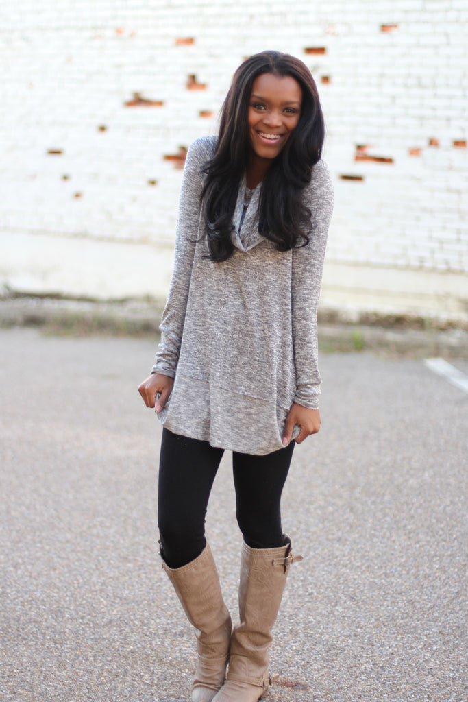 This Is It Cowl Neck Tunic-grey