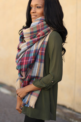 Plaid Beauty Scarf-Taupe