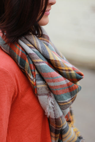 Plaid Beauty Scarf-Pumpkin