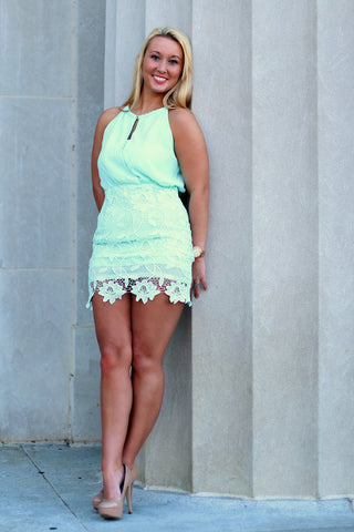 Mint Keyhole Dress