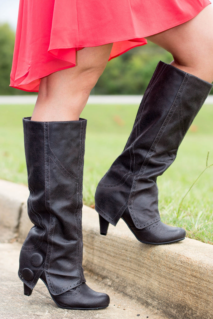 On The Dotted Line Boots-Charcoal(Heel)