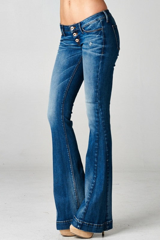 Sneak Peek Premium Denim-Super Flare Denim-Medium Wash