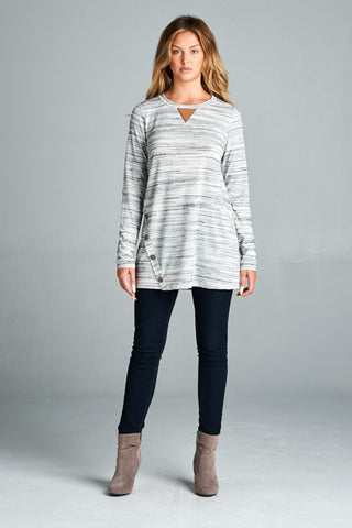 Side Button Tunic-Heather Grey