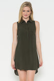 Mica Shirt Dress-Olive