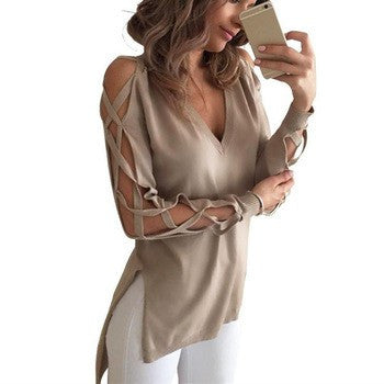 High Society Blouse-Taupe