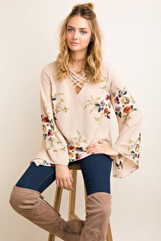 Strappy In Floral Blouse-Taupe