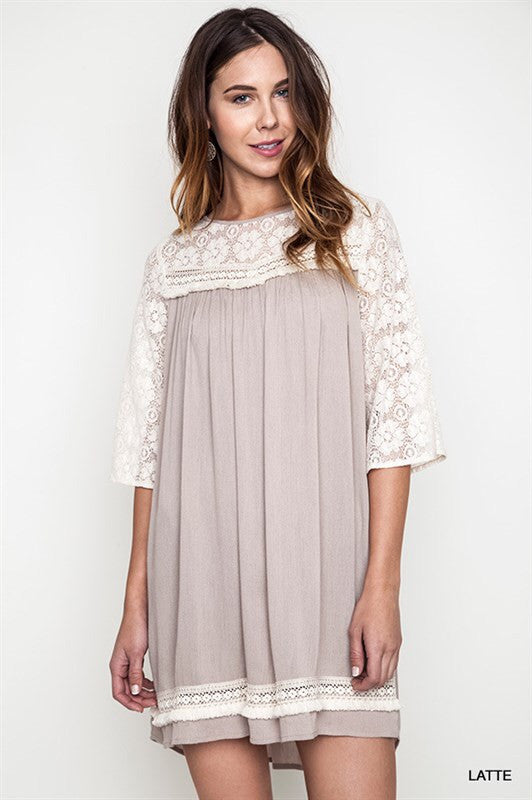 Sure Shot Lace Dress-Latte