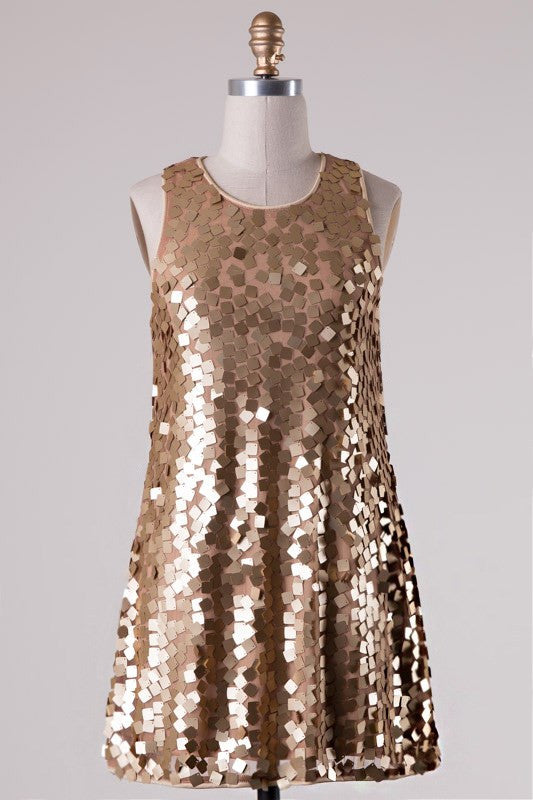 All The Glitz Dress-Gold