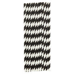 black & white stripe paper straws