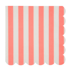 coral stripe large napkins