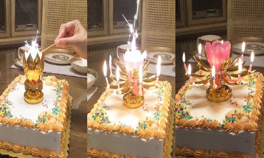 Musical Gold and Pink Lotus Flower Happy Birthday Candle fire and