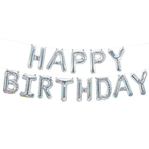 holographic happy birthday balloon garland