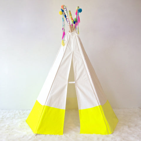 yellow indoor tipi