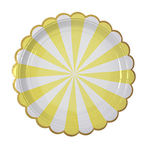 yellow striped small plates