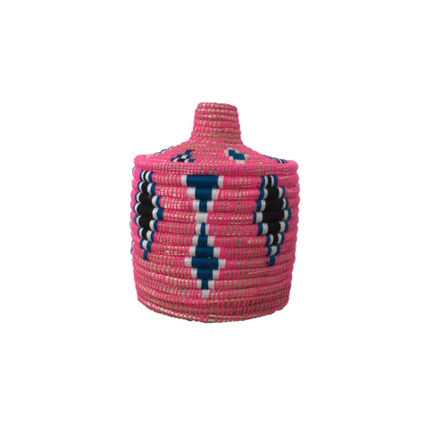 moroccan basket in light pink and blue