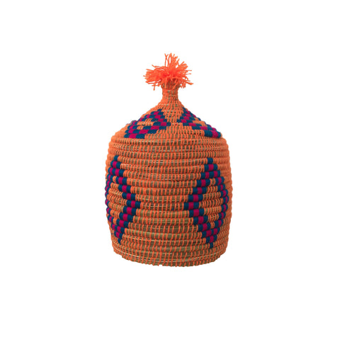 moroccan basket in orange, blue and pink