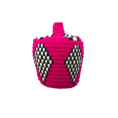 moroccan basket in fuchsia, black and white