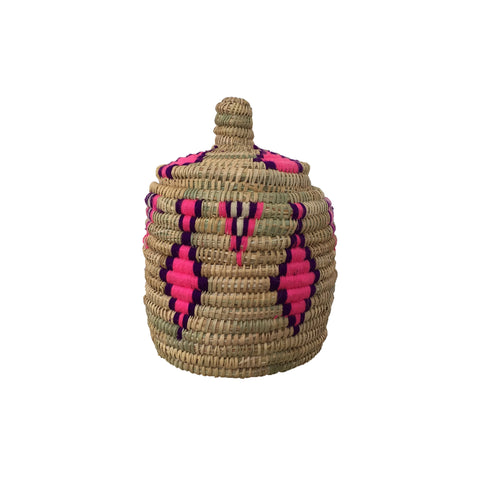 moroccan basket in natural, pink and purple