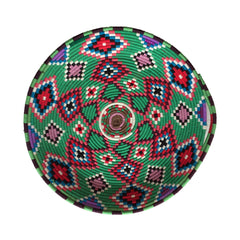 multicolored woven basket tray