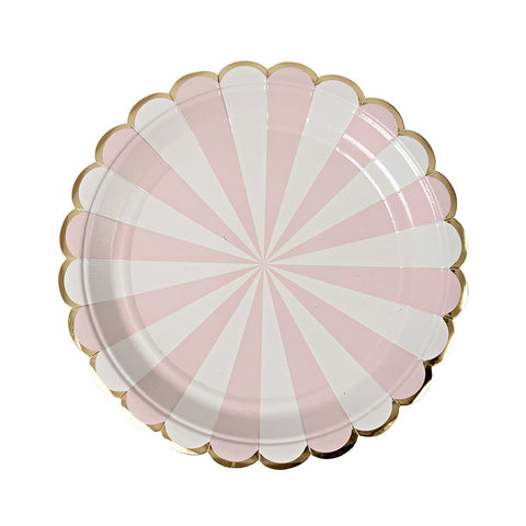 dusty pink stripe large plates