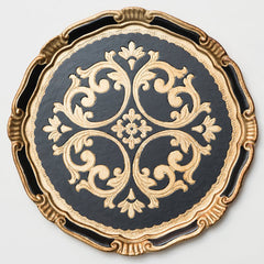 black and gold florentine charger