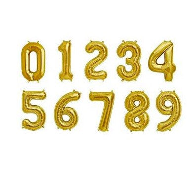 gold mylar number balloons - 16 inches