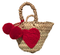 mini heart basket with pom pom
