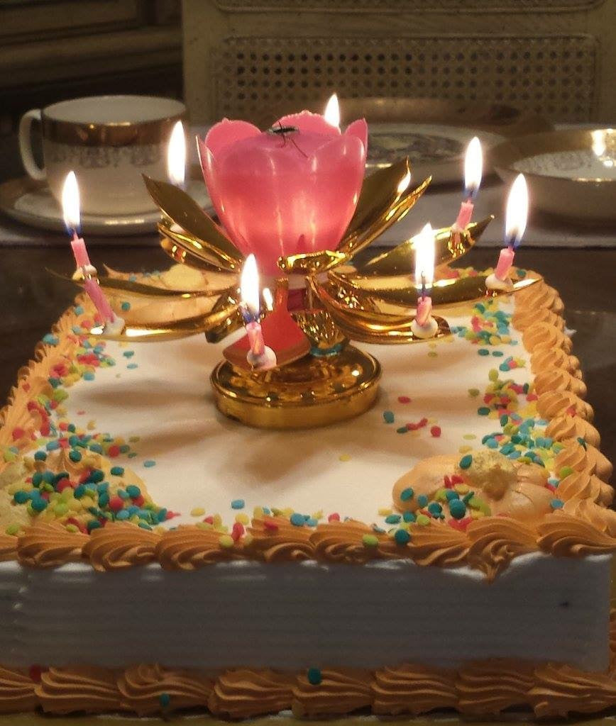 Musical Gold And Pink Lotus Flower Happy Birthday Candle