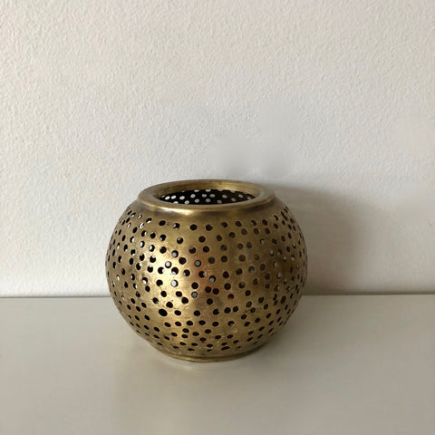 small gold moroccan candle holder
