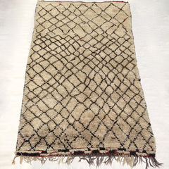 vintage moroccan rug beige and black