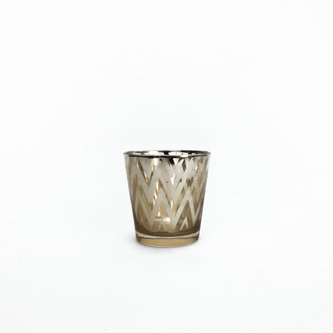 short gold chevron votive holder