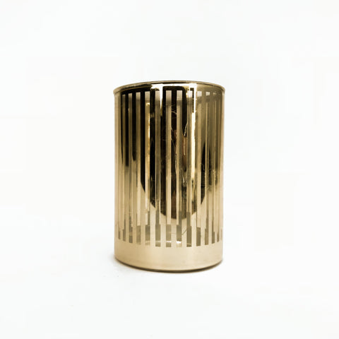 tall cylindrical gold striped votive holder