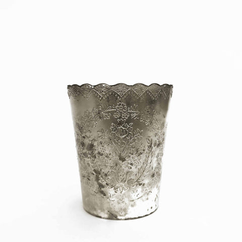 large scalloped silver mercury votive holder