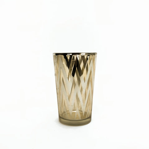 tall gold chevron votive holder