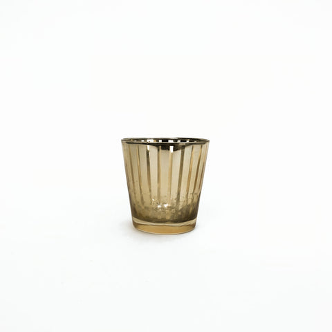 short gold striped votive holder