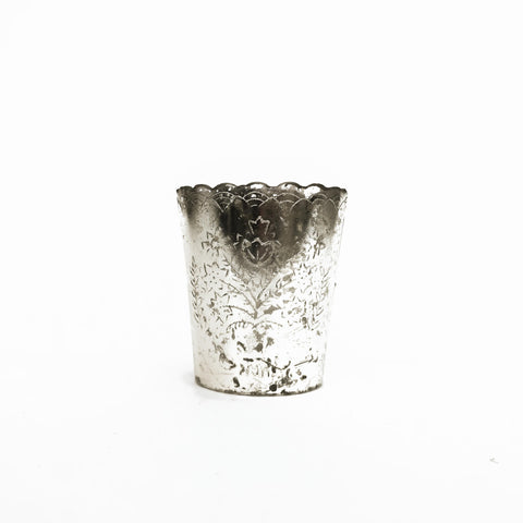 small scalloped silver mercury votive holder