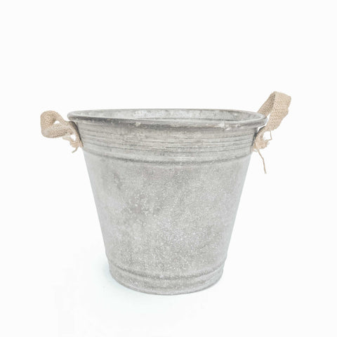 bucket with burlap handles
