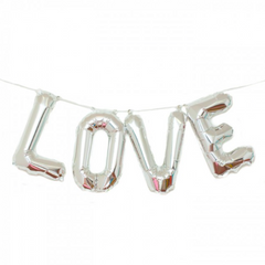 Silver LOVE mylar balloon kit