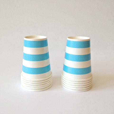 blue & white paper cups