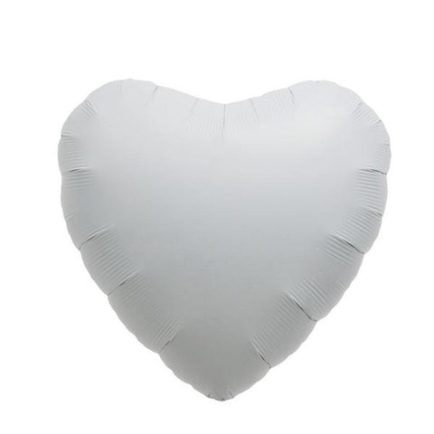 white heart mylar balloon